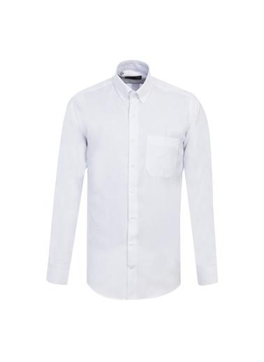 Kiğılı Uzun Kol Regular Fit Oxford Gömlek Beyaz